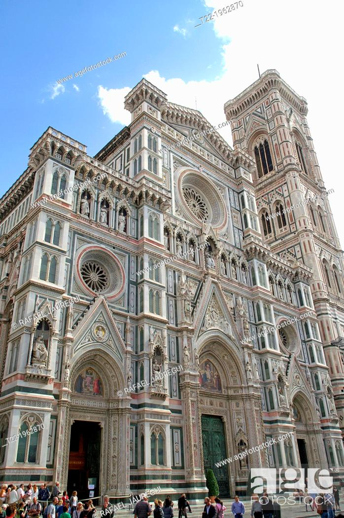Stock Photo: Florence Italy. Main facade of the Cathedral of Santa Maria del Fiore in Florence's historic center.