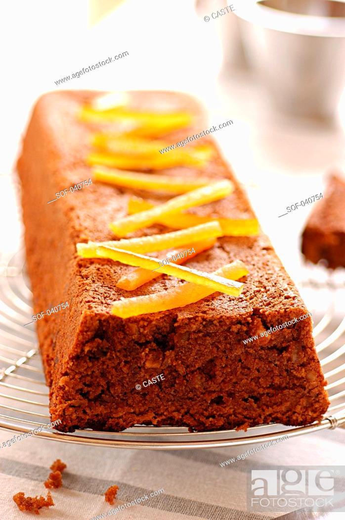 Stock Photo: milk chocolate cake with ginger.