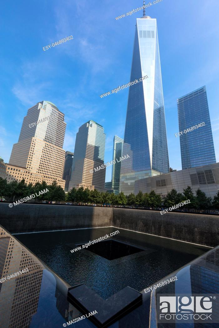 Stock Photo: Trade world center today: The memorial 9. 11 in Financial district, Manhattan.