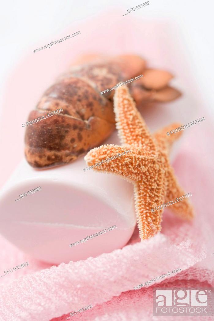 Stock Photo: Soap with lobster tail and starfish.