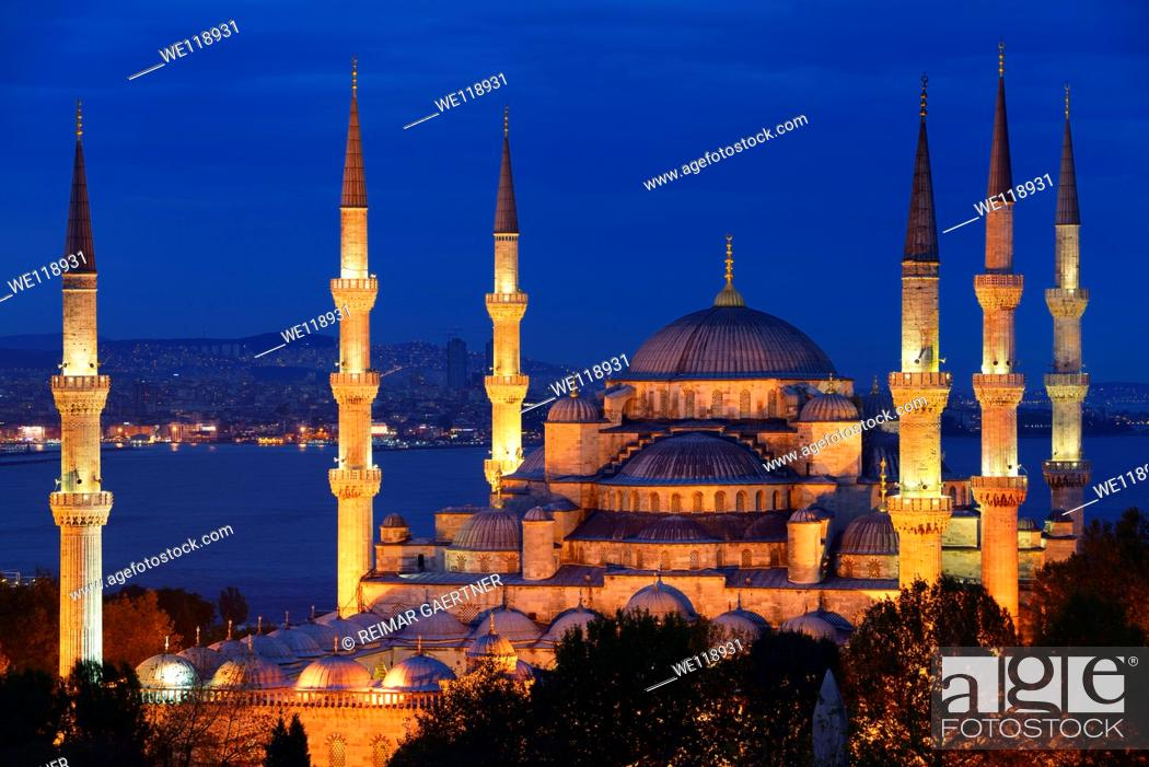 Stock Photo: Lit Blue Mosque at dusk on the Bosphorus Sultanahmet Istanbul Turkey.