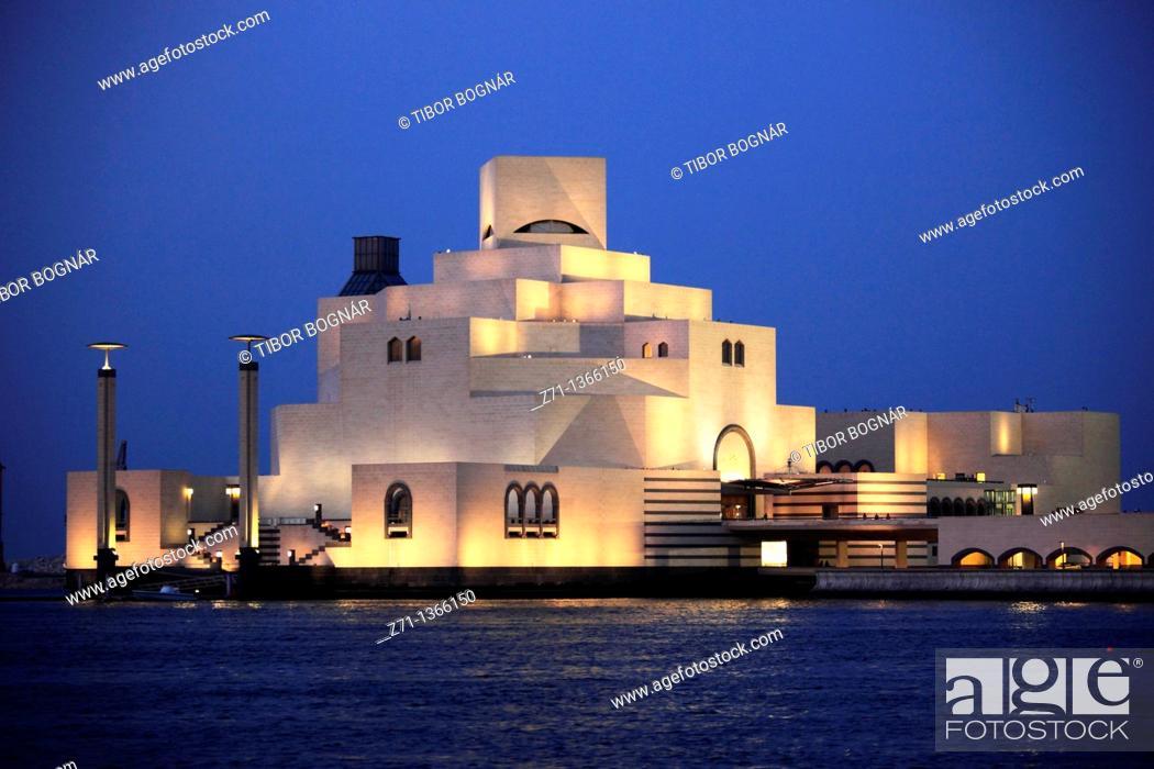 Stock Photo: Qatar, Doha, Museum of Islamic Art, I M  Pei architect,.