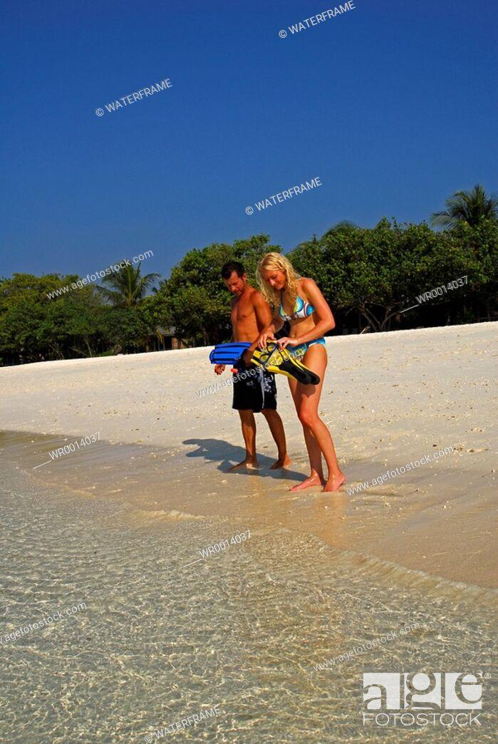 Stock Photo: Going Snorkeling, Indian Ocean, Maldives.