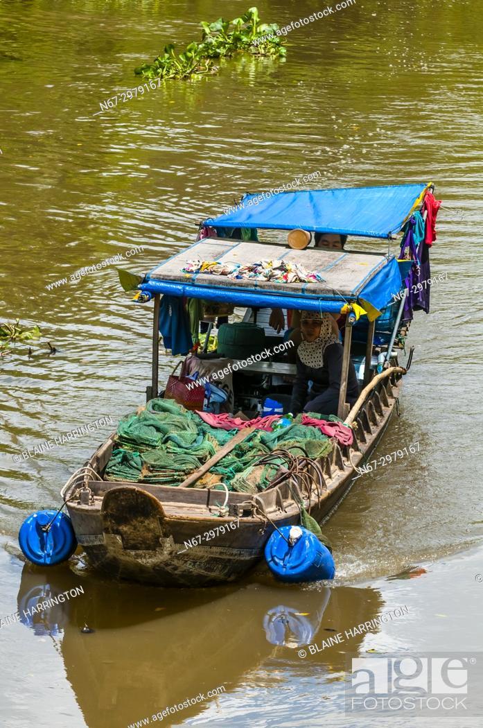 Stock Photo: Boating along the backwaters, Cai Lay, Mekong Delta, Vietnam.