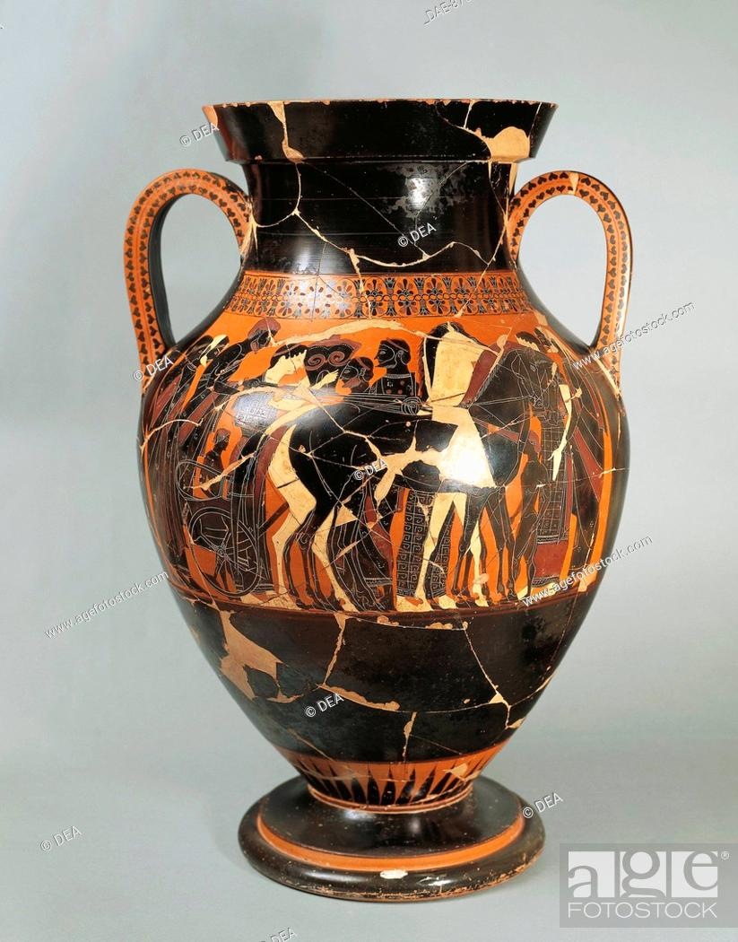 Greek Art V Sec Ac Attic Vase Painting Exechias Departure Of A