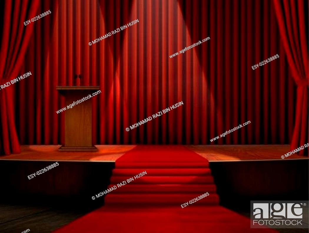 Stock Photo: Podium and Red Carpet on Stage.