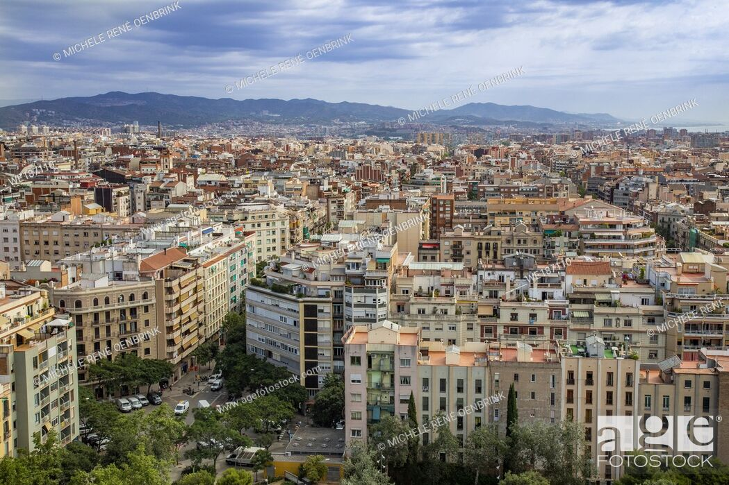 Stock Photo: View from the tower of La Sagrada Família Antoni Gaudí's renowned unfinished church in Barcelona Spain begun in the 1880s.