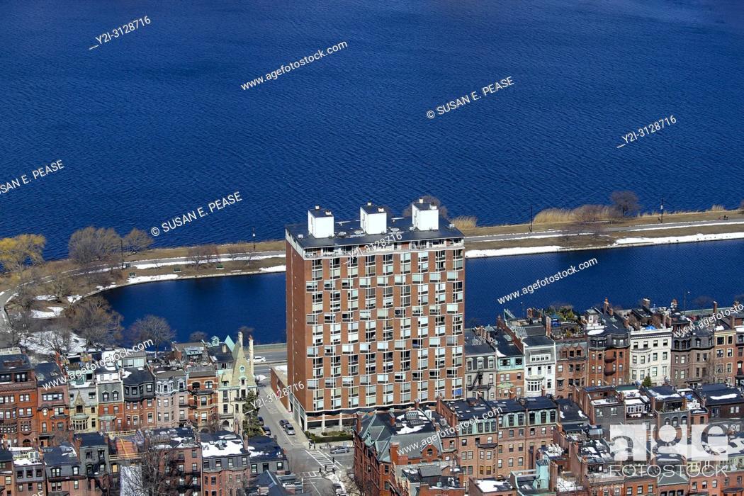 Stock Photo: Back Bay neighborhood and the Charles River, Boston, Massachusetts, United States.