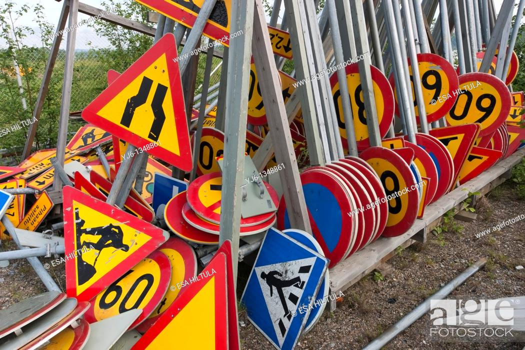 Stock Photo: traffic signs storage pile.