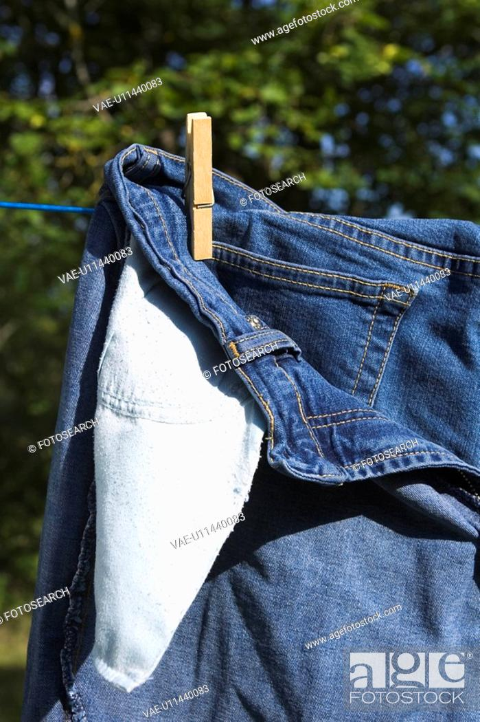 Stock Photo: Close-Up, Clothes Peg, Clothesline, Day, Drying.