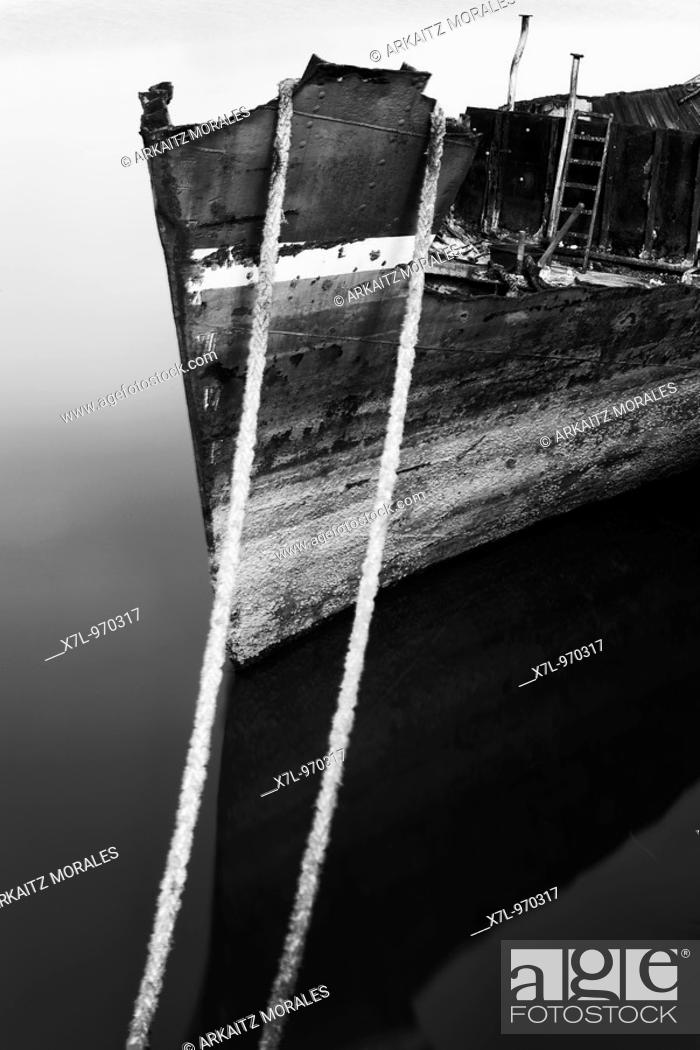 Stock Photo: Boat in the Estuary of Bilbao, Basque Country, Spain.