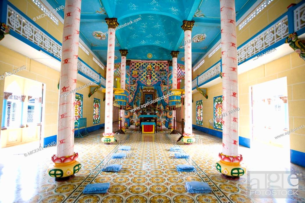 Stock Photo: Vietnam - The South - The Delta of Mekong - Ben Luc - Cao Dai Temple.