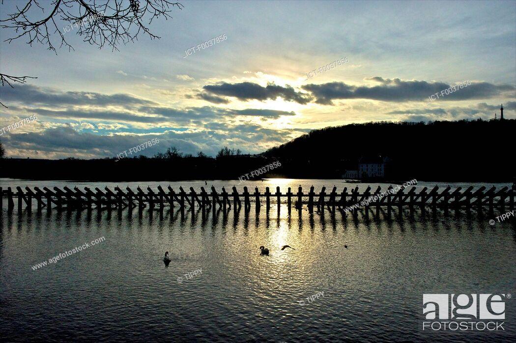 Stock Photo: Czech Republic, Prague, stilts on the Charles bridge.