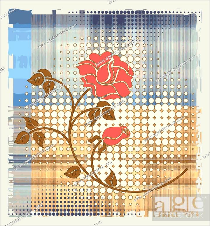 Stock Photo: rose over halftone background.