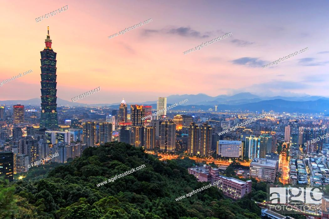 Stock Photo: Taipei, Taiwan skyline at twilight.