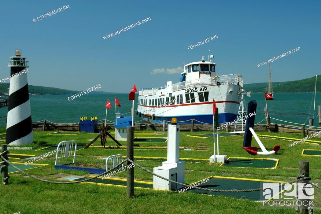 Stock Photo: Watkins Glen, NY, New York, Finger Lakes, Seneca Lake, sightseeing excursion boat, mini golf course.