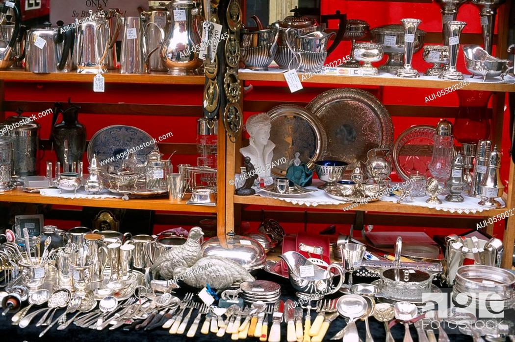 Stock Photo: England - London - Notting Hilll district - Portobello Road Market - antique silverware.