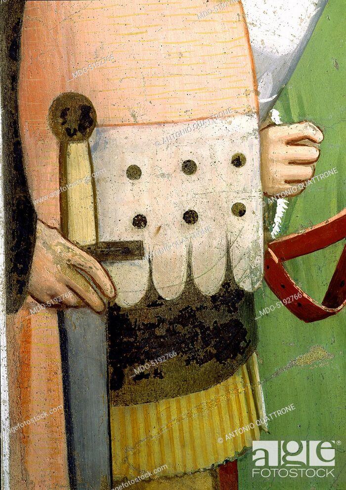 Photo de stock: Sylvester Closing the Jaws of a Dragon and Resuscitating two Wizards (San Silvestro chiude le fauci a un drago e resuscita due maghi), by Maso di Banco, 1340.