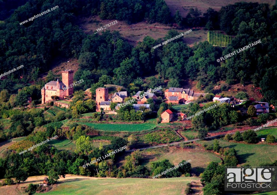 Stock Photo: Château castle of Servayrie in Mouret, Aveyron, Occitanie, Midi, Pyrénées.