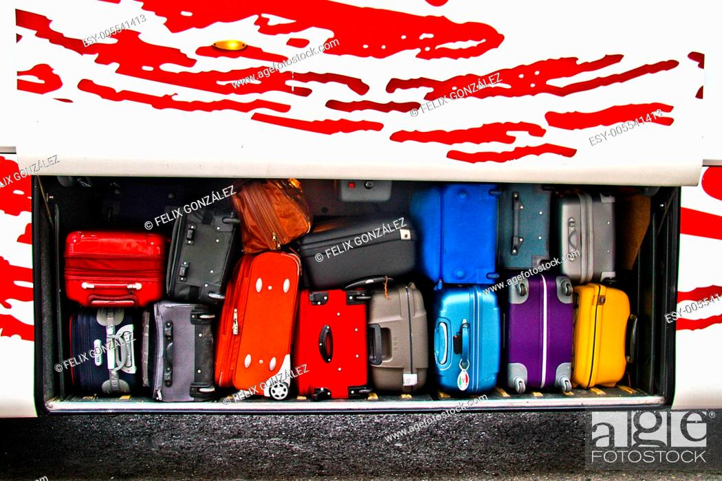 Stock Photo: Baggage in a bus boot, Madrid, Spain.