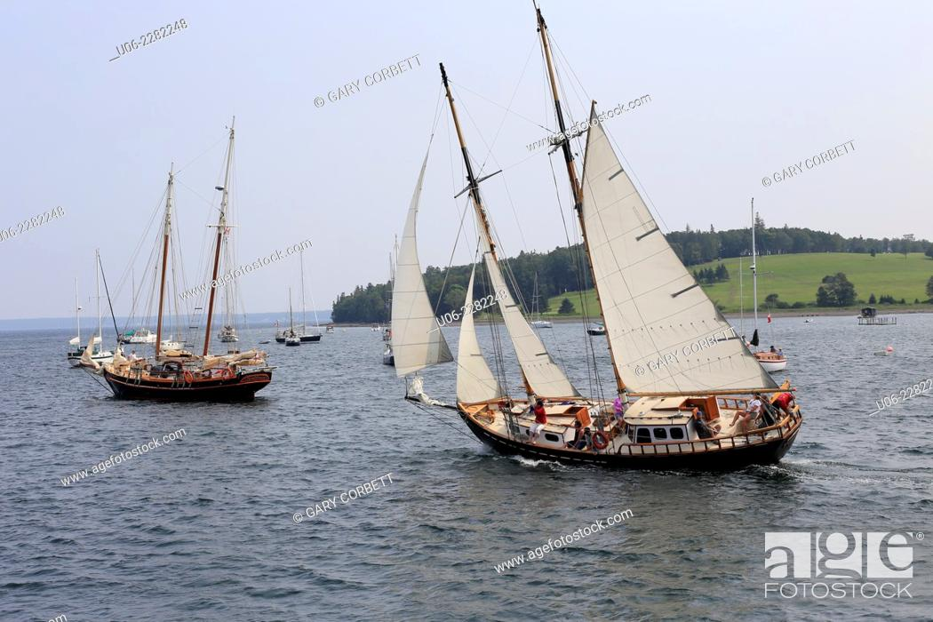 Stock Photo: Old wooden schooners in the Harbor at Lunenburg, Nova Scotia, Canada.