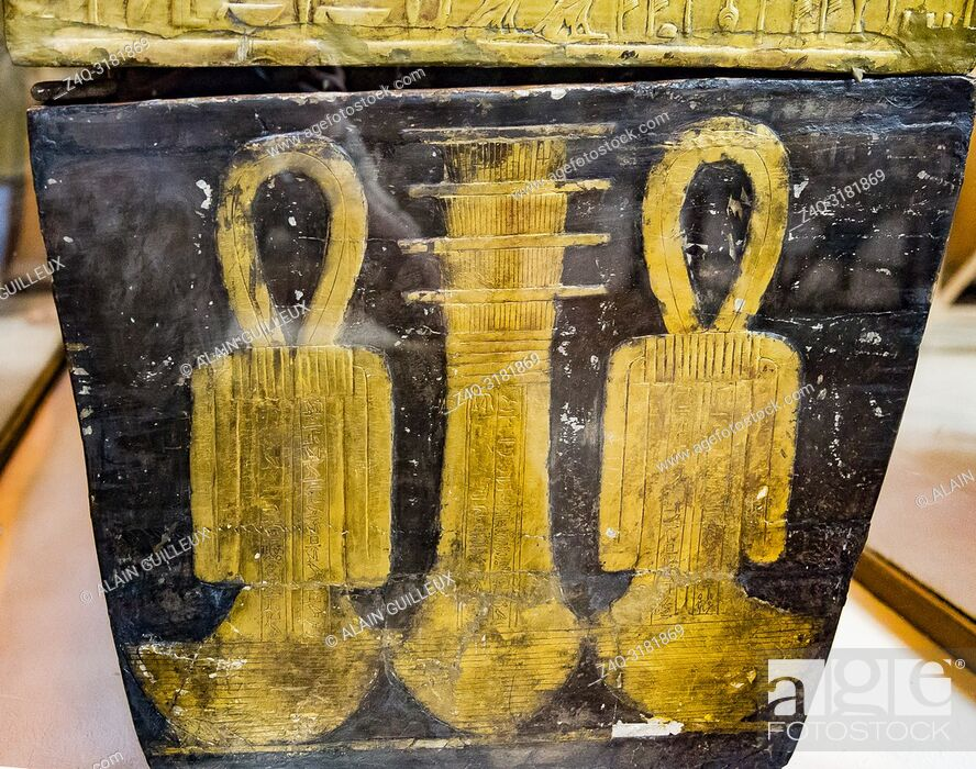 Stock Photo: Egypt, Cairo, Egyptian Museum, from the tomb of Yuya and Thuya in Luxor : Mummy-shaped (third) coffin of Yuya, the foot shows Djed (stability) and Tit (Isis.