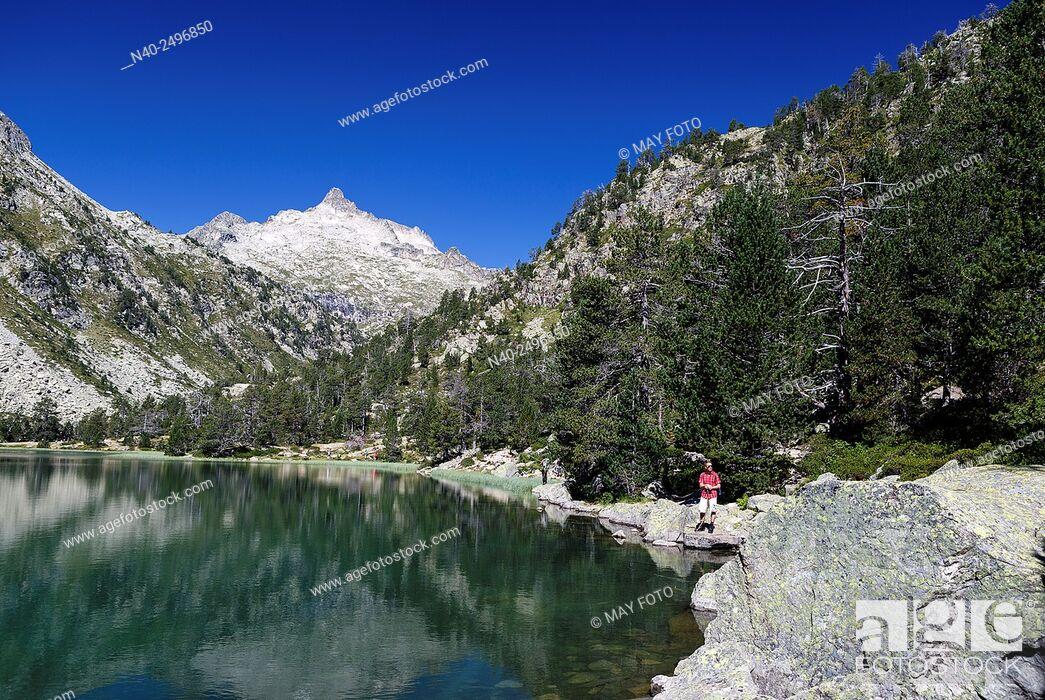Stock Photo: Les Laquettes lake, Néouvielle Reserve, France.