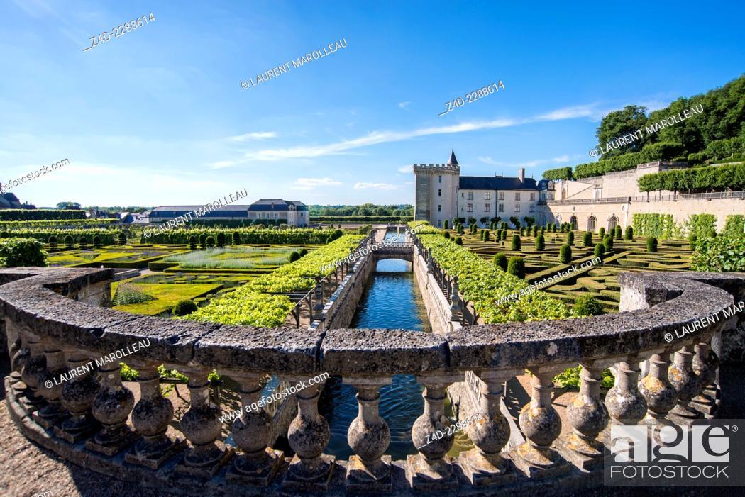 Stock Photo: Gardens and Château de Villandry. Its famous Renaissance gardens include a water garden, ornamental flower gardens, and vegetable gardens.
