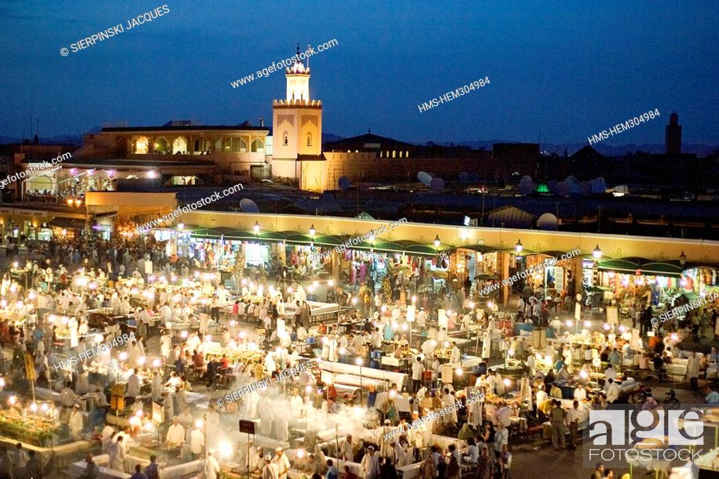 Stock Photo Morocco High Atlas Marrakesh Imperial City Medina Listed As World Heritage By Unesco Restaurants In Jemma El Fna Square Night