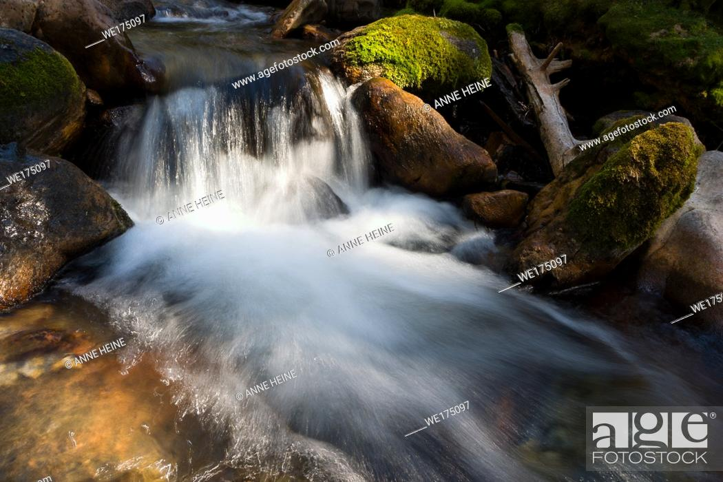 Stock Photo: Little creek waterfall showing beauty in little detail. Big Hill Springs Provincial Park, Alberta, Canada.