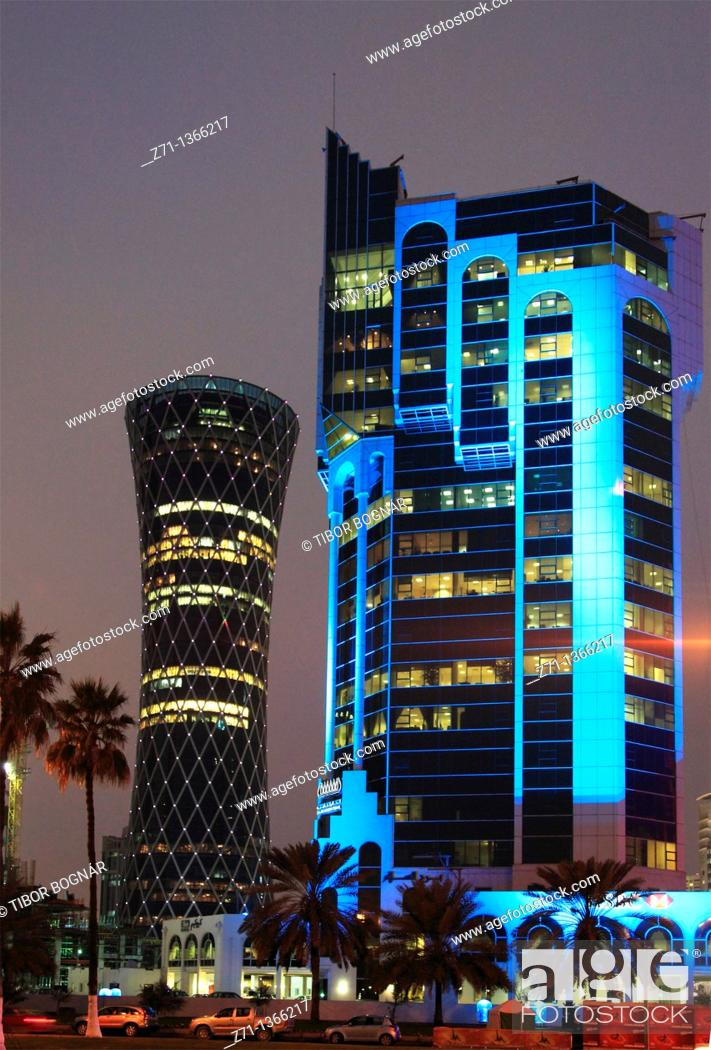 Stock Photo: Qatar, Doha, Al Corniche Street, modern architecture, skyscrapers,.