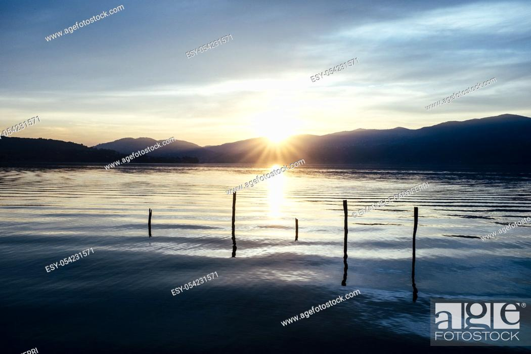 Stock Photo: sunset on Lake Maggiore, Italy.