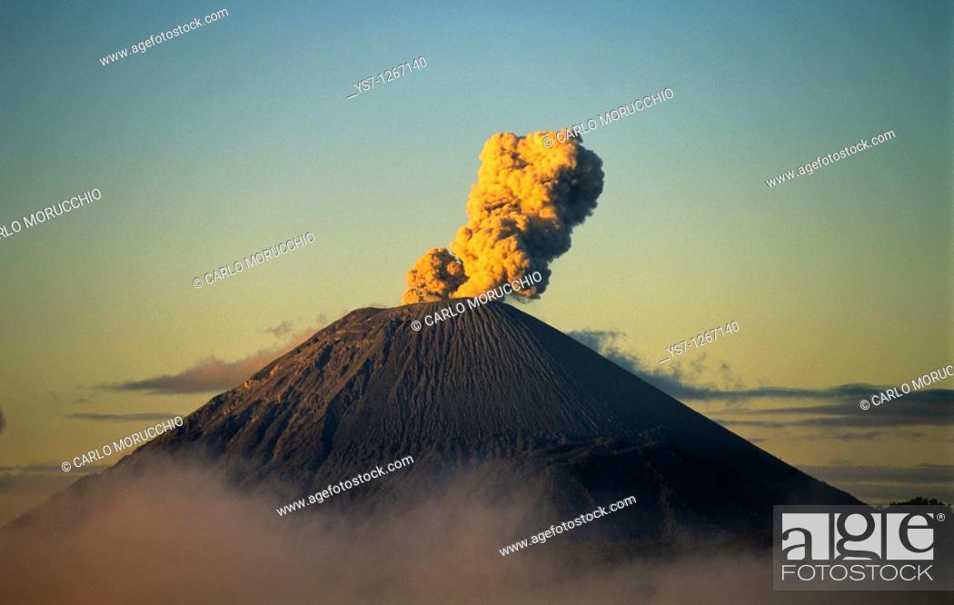 Stock Photo: Active volcano in Java island, Indonesia.