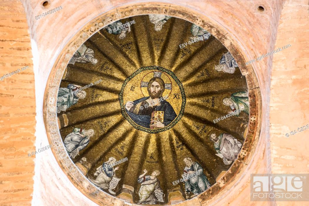 Imagen: Viiew of central dome of the Pammakaristos Church depicting Jesus Pantocrator and apostles at Fethiye Camii in Carsamba vicinity of Fatih county of Istanbul.