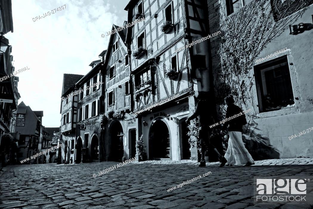 Stock Photo: Au Petit Delice, Cobbled Street, Riquewihr, Alsace, France, Europe.