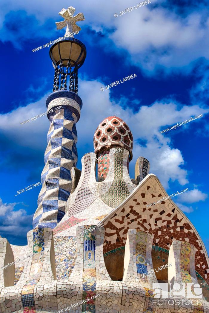 Stock Photo: Park Güell by Antonio Gaudí. Barcelona. Catalonia. Spain.