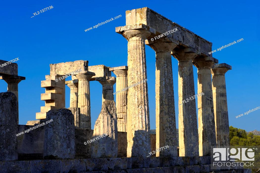 Stock Photo: The Greek Doric Temple of Aphaia 500BC  Aegina, Greek Saronic Islands.