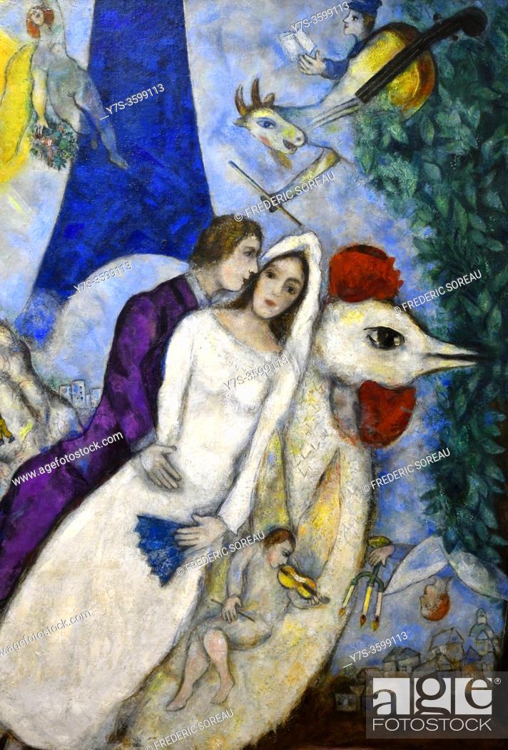Photo de stock: Les Mariés de la tour Eiffel, 1938-1939, Marc Chagall, Georges Pompidou museum Paris France.