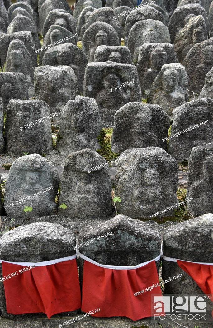 Stock Photo: Ancient jizo statues at famous Daitokuji temple, buddhist zen temple of Rinzai school, Kyoto, Japan, Asia.