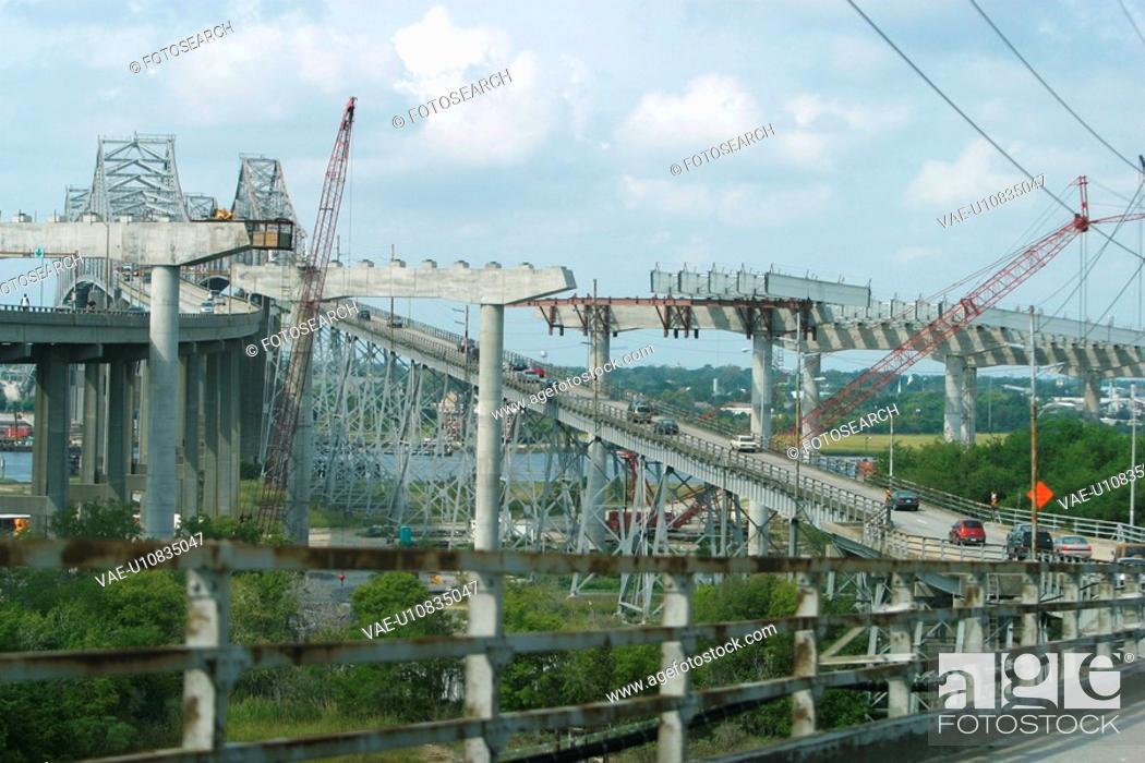 Stock Photo: highway, bridge, construction, construct, labor, cranes.