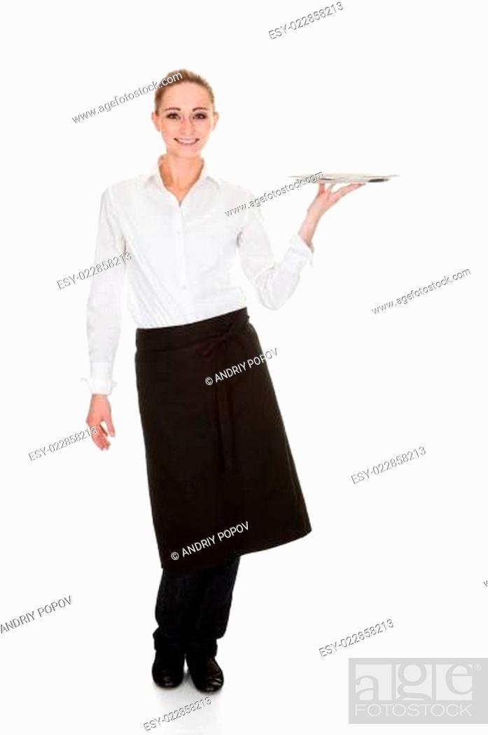 Stock Photo: Young Waitress Holding Tray.