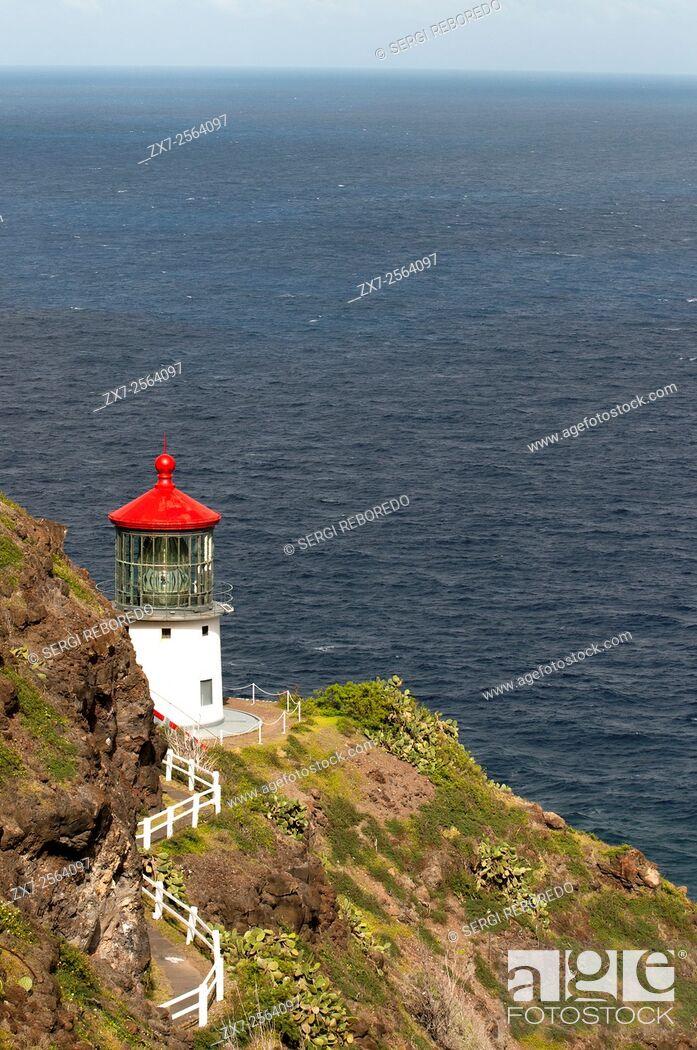 Stock Photo: Makapu'u Lighthouse at the eastern end of the island. O'ahu. Hawaii. MakapuÊ»u Point Lighthouse is a 46-foot-tall (14 m).