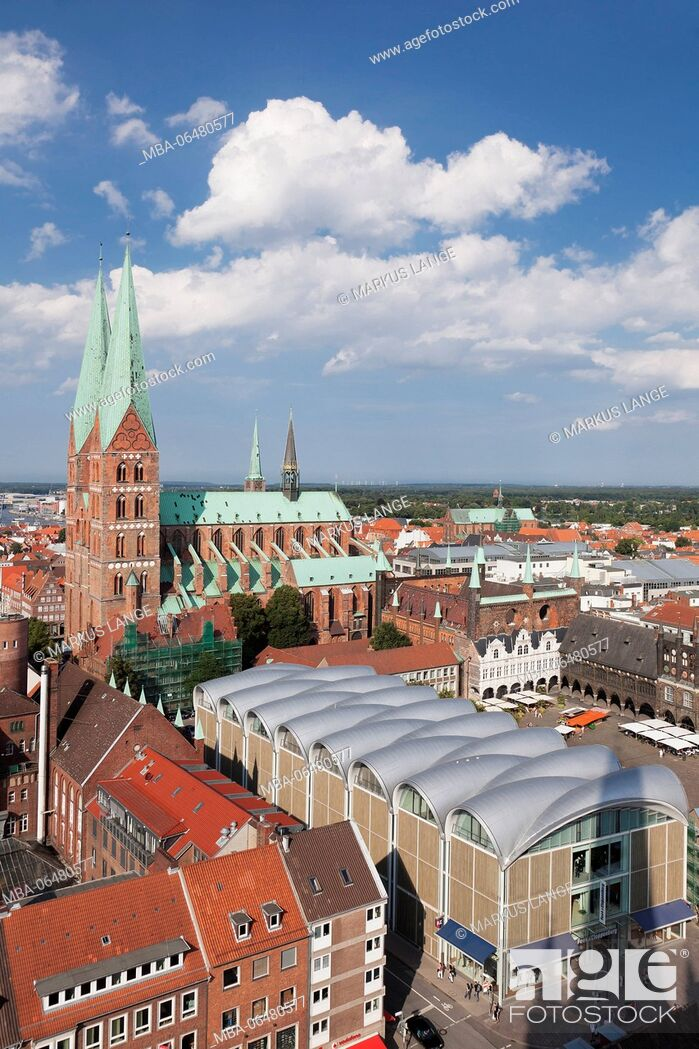 Stock Photo: View about the Old Town with Marien's church and city hall, Lübeck, Schleswig Holstein, Germany.