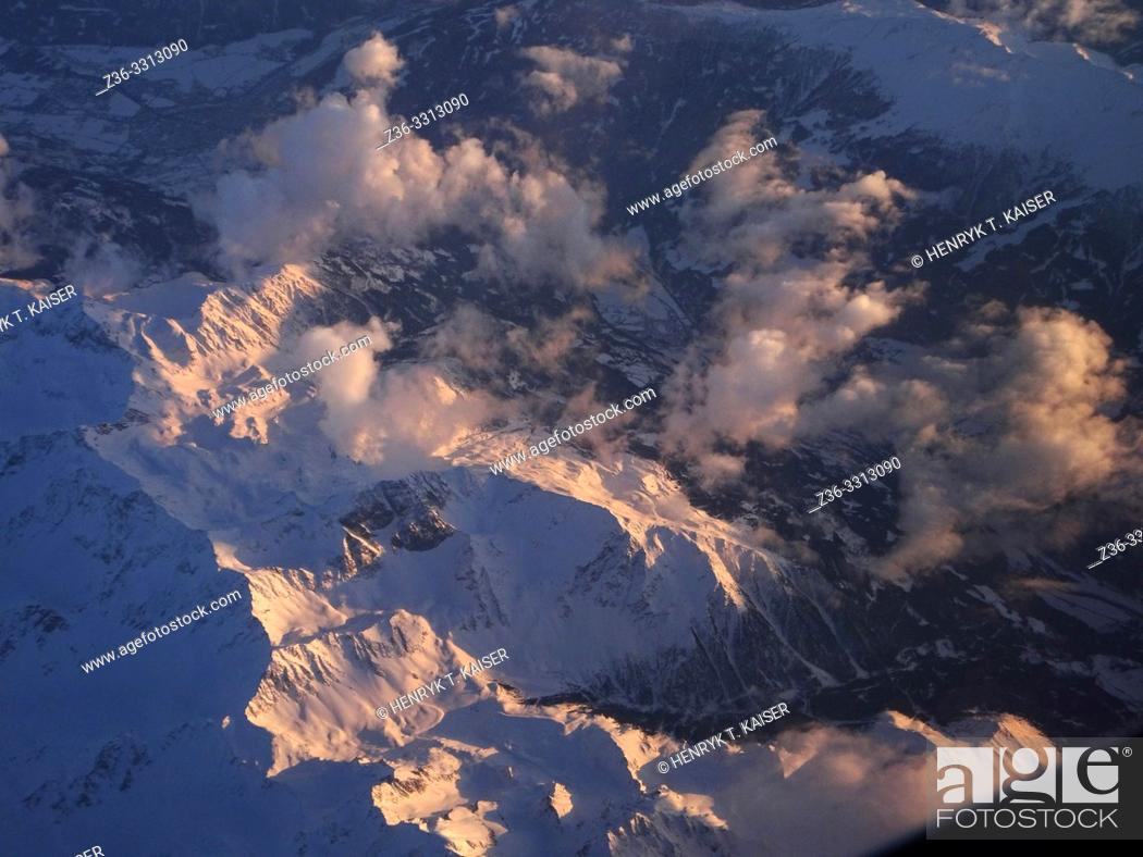 Stock Photo: Alps from air.