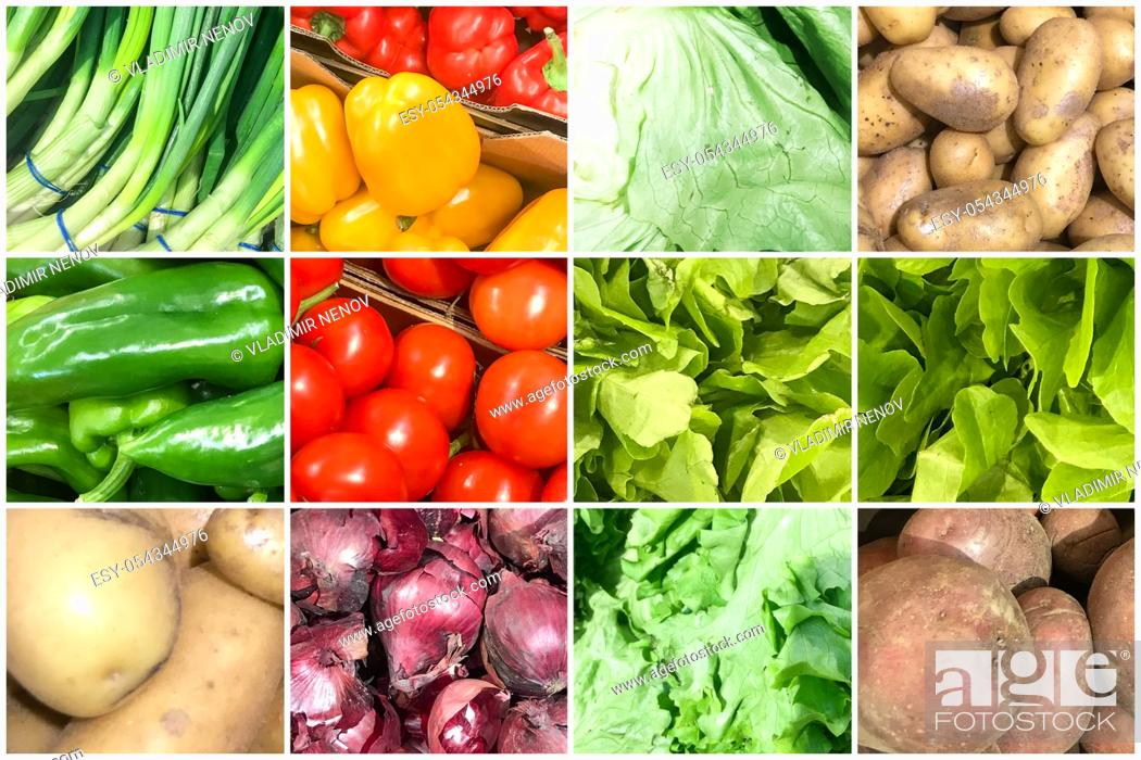 Stock Photo: Collage Of Photos With Healthy Organic Vegetables. Collection Of Healthy Fresh Food Backgrounds.