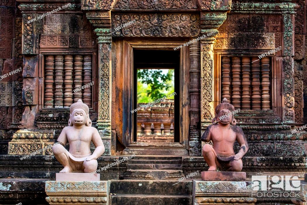 Stock Photo: Banteay Srei Temple in Angkor, UNESCO World Heritage Site, Siem Reap Province, Cambodia, Indochina, Southeast Asia, Asia.