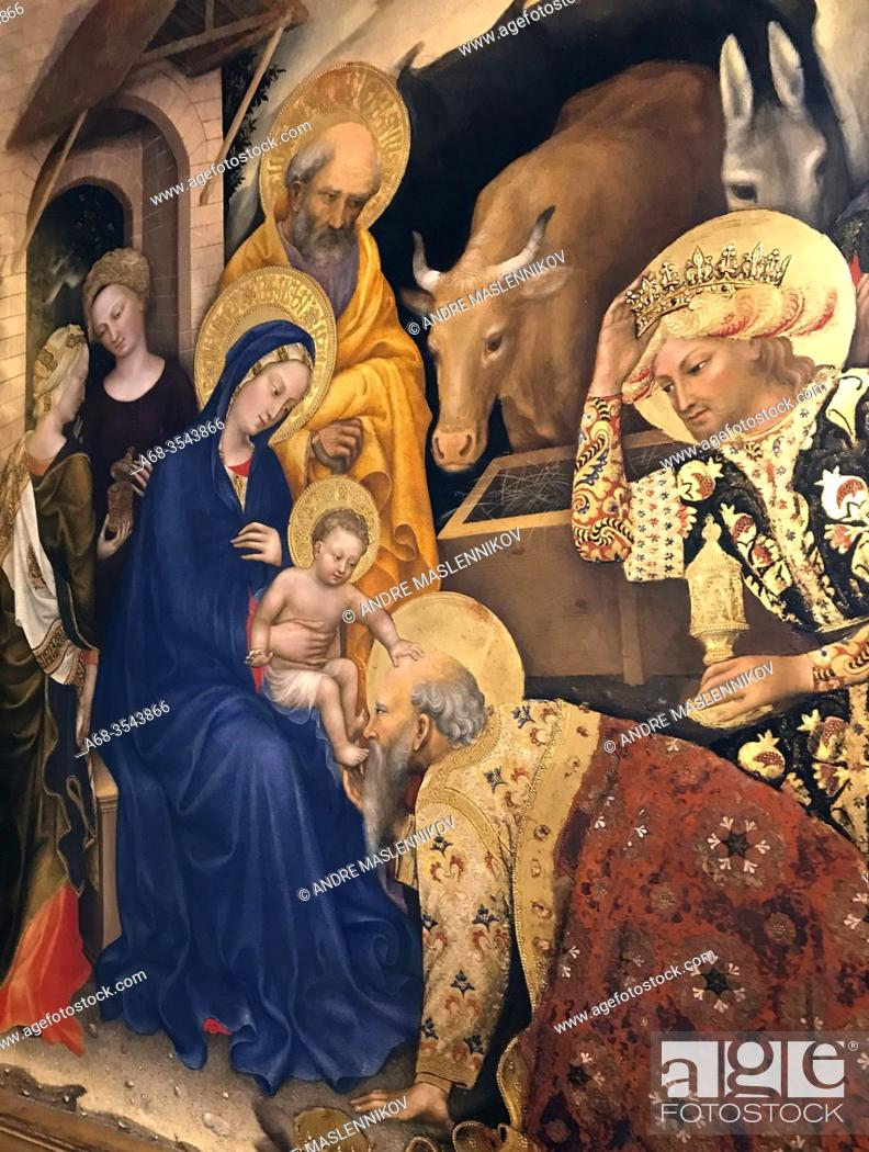 Stock Photo: Gentile Da Fabriano, Adoration of the Magi. Christ in Judgement, the Annunciation and Prophets, The Nativity, Flight into Egypt and the Presentation in the.