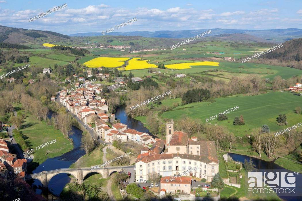 Stock Photo: France, Haute Loire, Lavoute Chilhac, the village and the Priory Sainte Croix in the bend of the Allier river.
