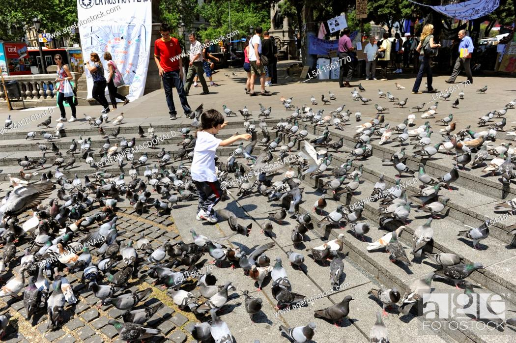 Stock Photo: Child plays with pigeons Barcelona Spain Europe Catalonia.