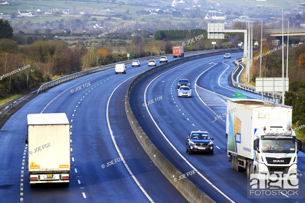 Stock Photo: cross border freight and vehicle traffic on the N1/M1 motorway crossing the irish border between Northern Ireland and Republic of Ireland soon to be the UK EU.